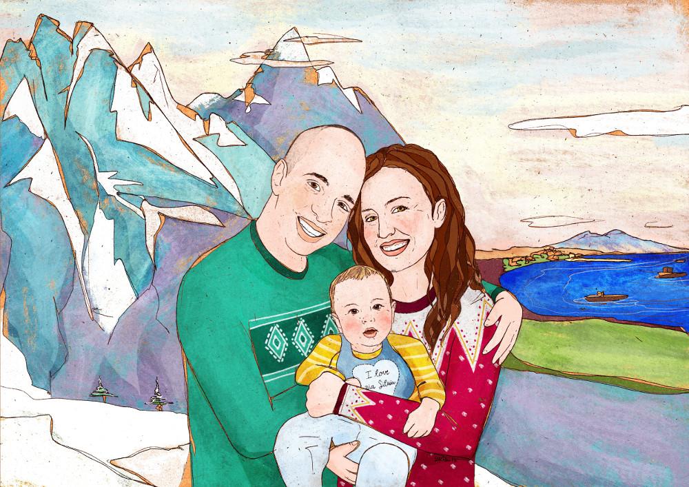 ritratto su commissione illustrazione digitale di famiglia con papà mamma e figlio in montagna
