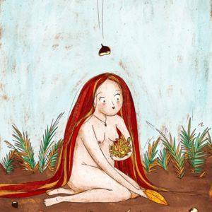 ninfa dai capelli rossi raccoglie foglie secche. Una castagna cade