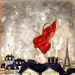 donna dai capelli rossi guarda i tetti di parigi con comignoli fumanti