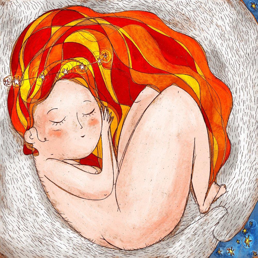 Ragazza con chioma rossa dorme tra le braccia di un orso bianco con stelle tra i capelli