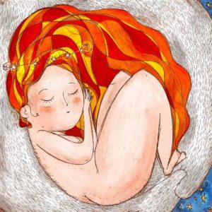 ninfa dorme tra le braccia orso bianco