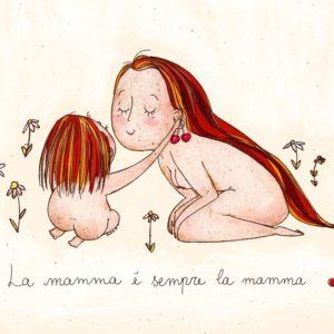 """illustrazione """"La mamma è sempre la mamma"""". Bimba e madre giocano con ciliegie"""