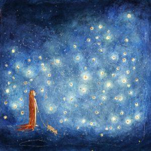 Lucciole ad illuminare un cielo senza stelle. Lucciole nel percorso di una ragazza e il suo cane