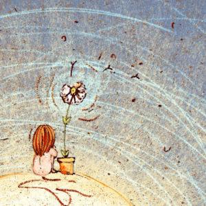 Seduta Sulla luna con un fiore