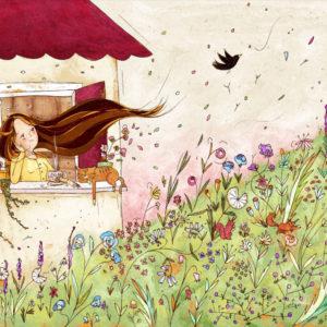 Stampa illustrazione ragazza capelli castani alla finestra. Fiori primavera e merlo che vola via