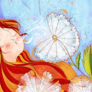 Sogni e Soffioni. Disegno con ragazza che soffia sui soffioni i propri desideri.