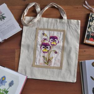 Borsa shopper in tela naturale con disegno fiore botanico Viola del pensiero