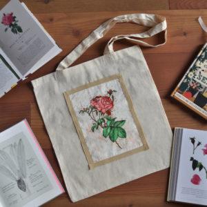 Borsa shopper cotone naturale con stampa Rosa Botanica