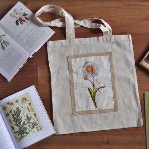 Borsa shopper in tela naturale con disegno fiore botanico margherita