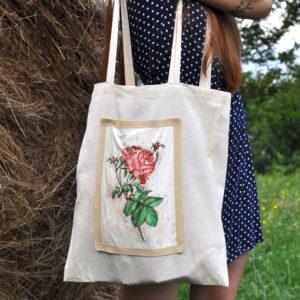 Borsa shopper in tela naturale con disegno fiore botanico rosa