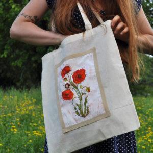 Borsa shopper in tela naturale con disegno fiore botanico Papavero