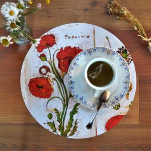 Tovaglietta americana tonda con fiori botanici papavero