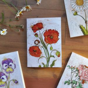 Quaderno a5 fiori botanici papavero