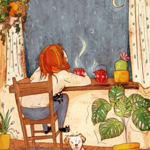 La malinconia della fine di una domenica non troppo scoppiettante, una tisana calda e i pensieri rivolti alla luna. Cane e gatto