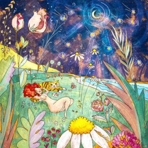 Eva Fragole e tigri ad aspettare le stelle cadenti con dei fiori giganti