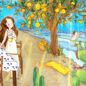 illustrazione mediterranea con mare, arance e fichi d'india