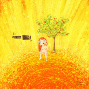 Sto bene così stampa illustrazione con sole luminoso. Con ragazza dai capelli rossi che mangia una mela sotto un albero al sole. Mi piacciono le cose semplici.Metereopatia.