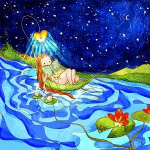 Stampa illustrazione con ragazza che legge dentro ad una foglia che viene trascinata lontano dalla corrente. Leggere mi porta lontano stando seduta sul divano.