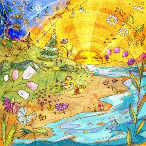Stampa illustrazione campeggio al sole con chitarra e tenda. Sole al tramonto con fiori giganti e la natura ad avvolgere il personaggio