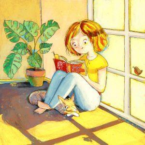 Riproduzione Illustrazione con ragazza che legge alla luce del sole che entra dalla finestra e con un cane sotto le gambe. Silenzio sto leggendo