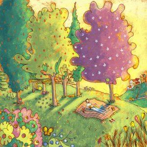 Sonnecchiare insieme all'ombra di un grande albero su una copertina da picnic