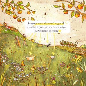 Disegno con personaggi personalizzabili con coppia, cani e gatti in un campo di fiori