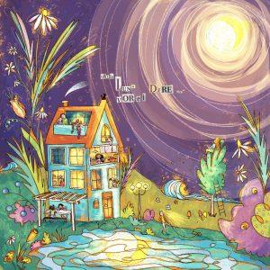 Alla Luna vorrei dire stampa illustrazione da collezione con un condominio che mostra tante persone tutte la stessa grande Luna