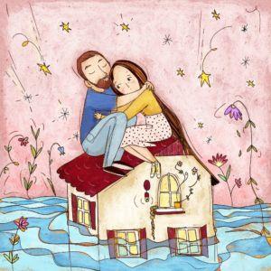 Illustrazione abbraccio coppia