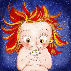 Bambina guarda sognante farfalle che volano sulle sue mani