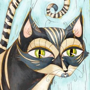 Occhi gatto a strisce. Gatto malefico