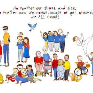 disability, wheelchair, down syndrome, old people illustrations