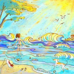 Illustrazione da collezione con ragazza al mare baciata dal sole